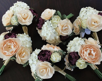 Paper Bridal or Bridesmaid Bouquet - Blush, Ivory, Marsala - Roses, Hydrangea, Peony & Ranunculus- 6  - 8 - 10 inch