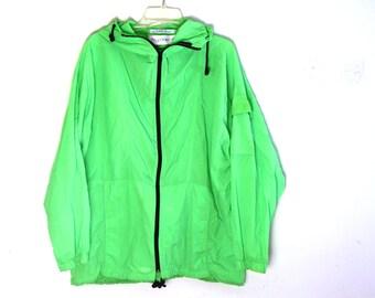 Vintage neon green jacket windbreaker nylon 80s 90s