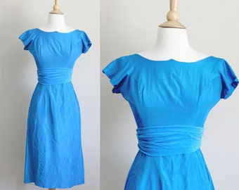 1950s Wiggle Dress |  Royal Blue Wiggle Dress with Velvet Sash and Asymmetrical Collar | Small