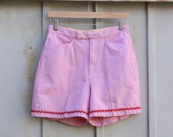 Vintage Gingham Shorts - High Waist 90s Shorts - Gloria Vanderbilt Shorts - Tartan Shorts - Plaid Shorts - Red and White Checkered Shorts