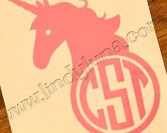 Unicorn Monogrammed Decal