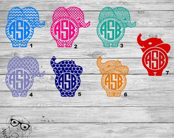 Monogram Elephant Decal, Elephant Car Decal, Elephant Decal, Elephant Monogram Laptop Decal, Tumbler Decal-You choose image, size, and color