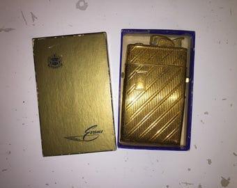 1940s Vintage Evans Cigarette Lighter w/ Case Cigarette Holder, Evans Gold Tone Case & Lighter w/ Box