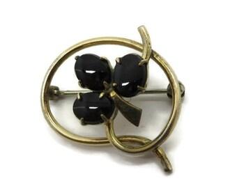 "Black Onyx Brooch, 12K Gold Filled Brooch, Vintage Signed ""WRE"" Brooch, Flower Pin, Gift for Her"