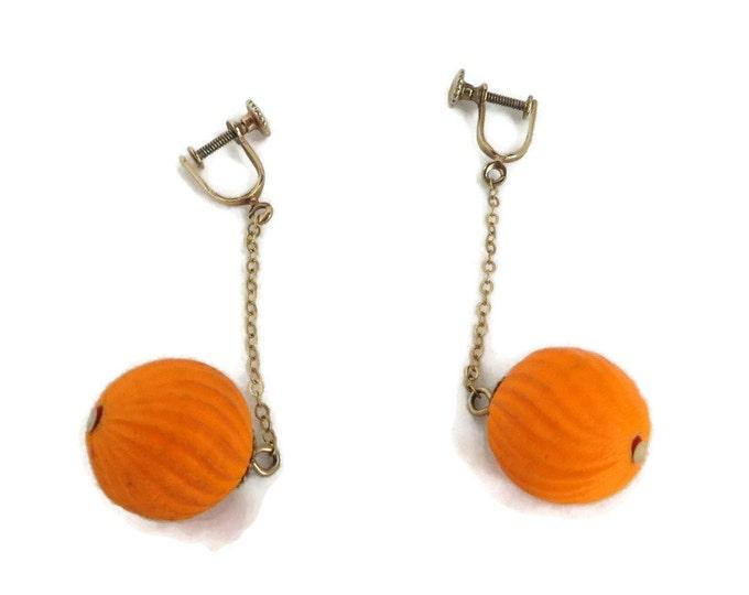 Orange Ornament Earrings, Vintage Dangling Chain Screwback Earrings