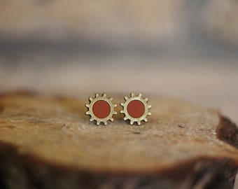 Steampunk Clay Gear Earrings, Brass and Clay Titanium Post Earrings, Studs