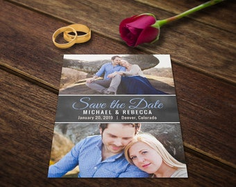 Wedding Announcements Template - Wedding Save the Date Postcard - Save the Date Cards - Photoshop Wedding Template Photo Wedding Card PSD