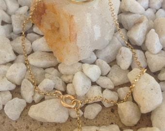 aqua marine bezel chain bracelet. gemstone bracelet. delicate bracelet