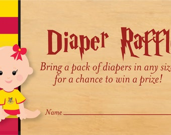 Harry Potter Baby Shower Diaper Raffle Card   Harry Potter Diaper Raffle  Card   Cute Harry