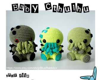 Baby Cthulhu - amigurumi crochet pattern. Language - English