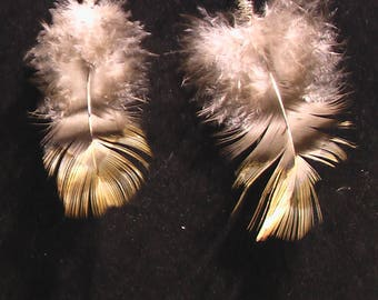 Super flow-y chicken feather earrings