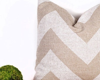 SALE ENDS SOON Tan Chevron Print Pillow, Zig Zag Decorative Pillow, Contemporary Home Decor, 16 x 16