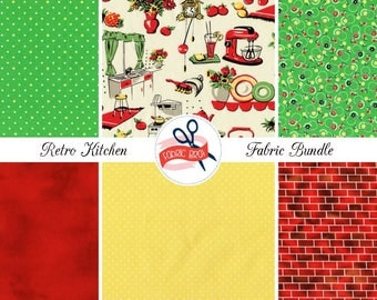 RETRO KITCHEN Fabric Bundle by the Yard, Fat Quarter Bundle Red & Yellow Fabric Brick Dots 100% Cotton Quilting Fabric Apparel Fabric Kit