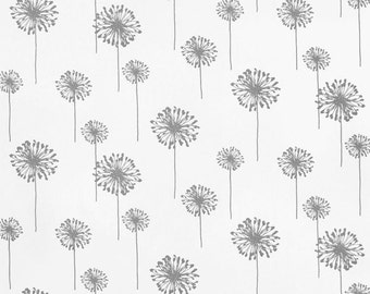 SHIPS SAME DAY Premier Prints Dandelion Twill White Storm Fabric,  Grey White Floral Fabric, Drapery Fabric, Upholstery Fabric by 1/2 yard