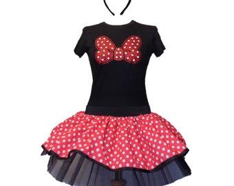 Mouse Design Tutu T-Shirt Shimmer Bow Hands Headband Fancy Dress Hen Party