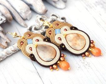 Beige cream soutache earrings Hippie boho earrings Mother of pearl earrings Retro beaded earrings Soutache jewellery Earthy dangle earrings