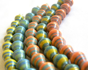 Paper Bead Jewelry Supplies - Paper Beads - Hand painted - Lot of 50 - #806