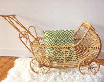 Vintage Bamboo Rattan Cart - Baby Carriage - Storage