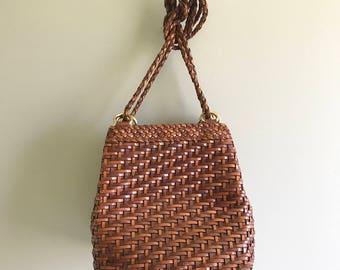 Vintage Brown Leather Bag / Basket Weave Woven Leather Shoulder Bag by L.J.S Collection