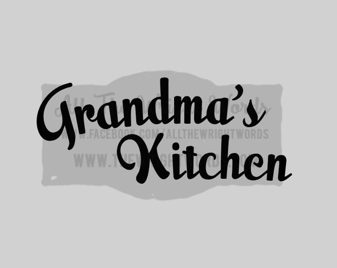"""FREE SHIPPING //  10x4.1"""" Grandma's Kitchen Vinyl Decal - Pressure Cooker Decal - IP - Decal  - Cooking - Home - Kitchen"""