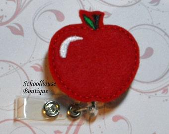 Apple felt badge reel, name badge holder, nurse badge, ID holder, badge reel, retractable badge clip,feltie badge reel