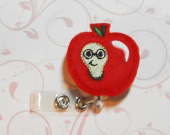 Worm Apple felt badge reel, name badge holder, nurse badge, ID holder, badge reel, retractable badge clip,feltie badge reel