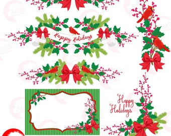 Christmas Clipart, Christmas floral Clipart, Vintage Christmas, Christmas banner, Christmas  floral embellishmnet, , AMB-1498