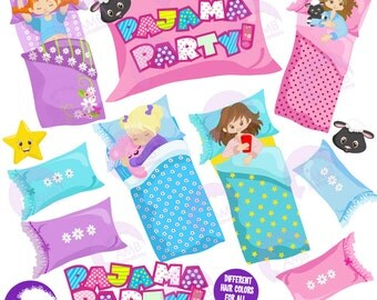 Slumber Party Clipart, Pyjama Party, Girls Sleep over, Pajama Clipart, Sleeping bag, Commercial use, AMB-1235