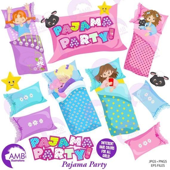 Slumber Party Clipart, Pyjama Party, Girls Sleep over ...