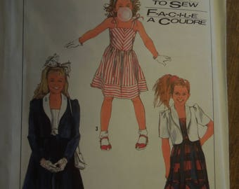 Simplicity 8717, sizes 7-10, girls, dress, unlined jacket, UNCUT sewing pattern, craft supplies