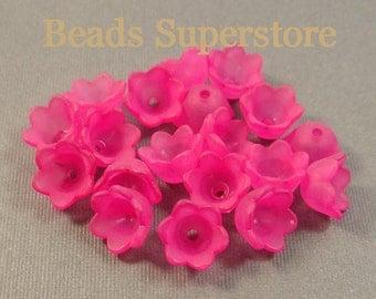 10 mm x 6 mm Magenta Lucite Flower Bead - 20 pcs