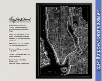 Unique Wedding Gift, NYC Map Art Print, Personalized New York City Wedding Art, Bridal Shower Gift, Gift for Anniversary, Engagement Gift