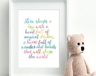 Rainbow watercolour print. Here sleeps a boy, Unframed A4 print, Inspirational print, Wall art, New baby gift, Colourful art, Nursery decor
