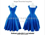 "Cobalt Blue BRIDESMAID Dress 38"" length, The Cherrybomb by HARDLEY DANGEROUS 1950s style Rockabilly Wedding Party, Pin Up Semi Formal"