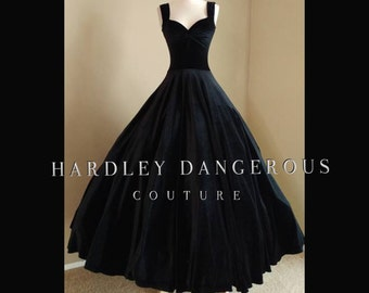 Black Velvet Ballgown with Retro Sweetheart Neckline by Hardley Dangerous Couture, Retro Evening Gown, Christmas Wedding Party Formal