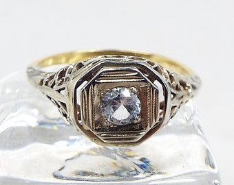 Vintage Art Deco 18ct Yellow and White Gold Filigree White Sapphire Solitaire Ring / Size N