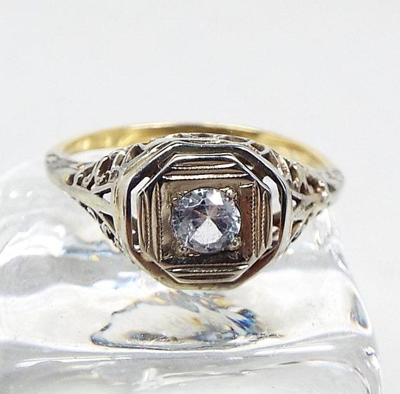 Vintage Art Deco 18ct Gold Platinum Filigree White Sapphire Solitaire Ring / Size N