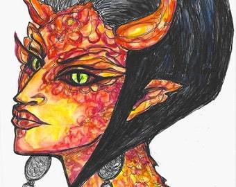 Dragon Girl Portrait Monster Creature