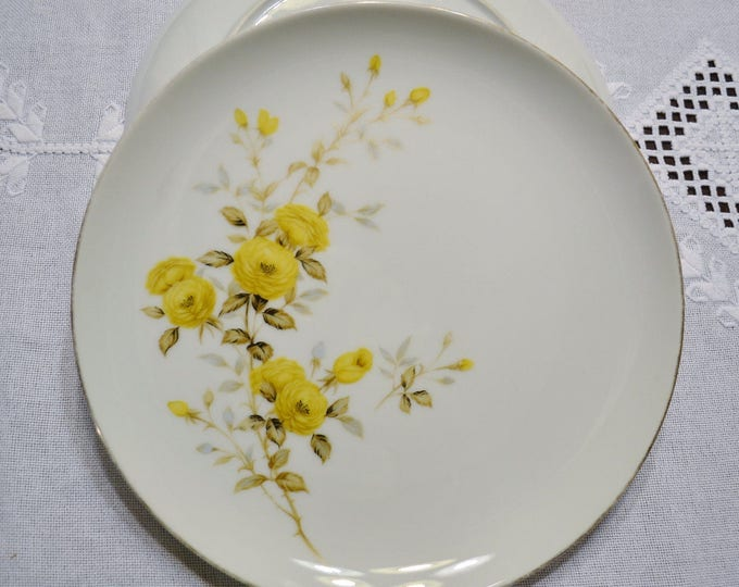 Vintage Sango Dinner Plate Set of 2 Yellow Roses Sango Fine China Japan Replacement PanchosPorch