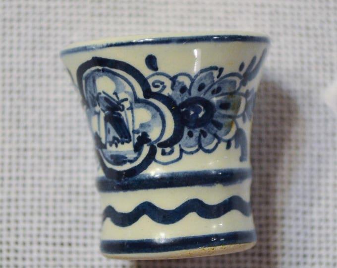 Vintage Delft Blue Miniature Flower Vase  Windmill Design Hand Painted Blue White Holland PanchosPorch
