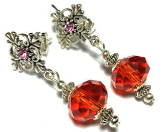 Red Crystal Glass Bead Earrings, Vintage Style - Butterfly Studs (ET 18-17)