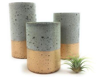 Concrete Succulent Planters/Air Plant Planters.  (set of 3) Gold.    FREE SHIPPING! Ready To Ship!