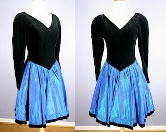 Vintage 80s PROM Dress Vintage Laura Ashley Party Dress 80s Cocktail Dress GOTH Velvet Dress Electric Blue Dress Dolly Madonna Retro Grunge