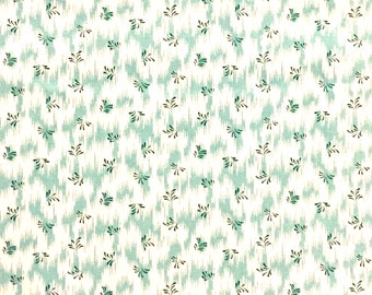 Blue Hill fabric Savannah 7446 Aqua blue turquoise white floral flowers zig zag lines 100% cotton fabric by the yard