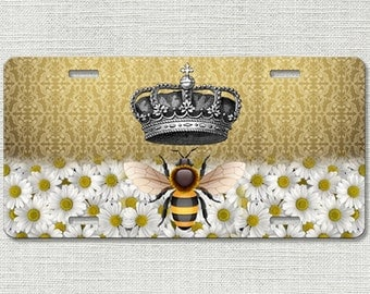 Personalized Car Tag Queen Bee Daisies Gold Royal Front License Plate Bees Crown 9082