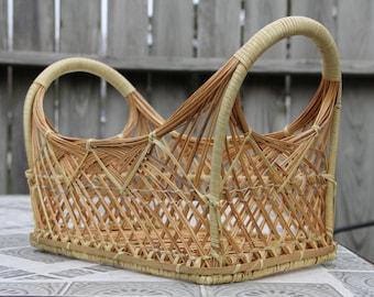 Woven Wicker Rectangle Basket with Handles/Bohemian Decor/Boho/Wicker Storage/Rattan Basket