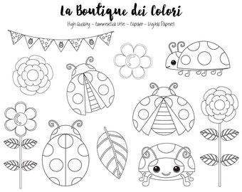 Ladybug Digital Stamp Clipart Cute Graphics PNG Ladybird Bugs Garden Flowers