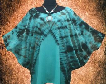 Turquoise Rusty Effect Dolman Sleeve Top blouse shirt Tie dye Batwing Tee