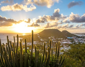 St. Martin view from road to Philipsburg, St. Maarten, Caribbean art, tropical decor, sunset decor, sunset art, caribbean print