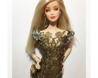 "Ooak barbie doll ""Gold Sequins"""